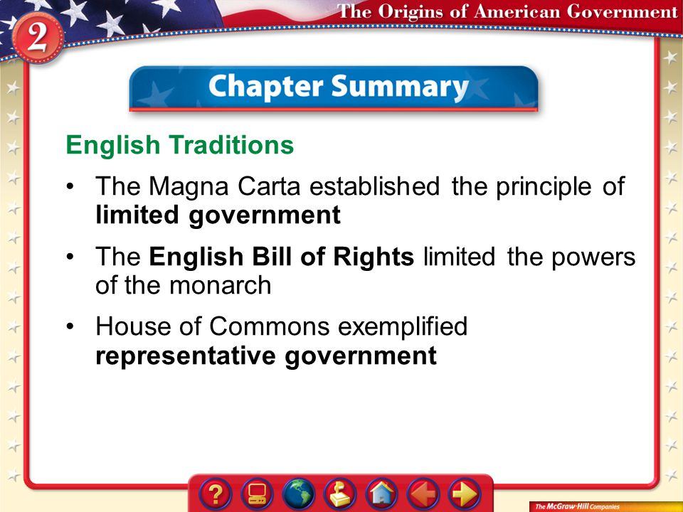 Chapter Summary start English Traditions The Magna Carta established the principle of limited government The English Bill of Rights limited the powers