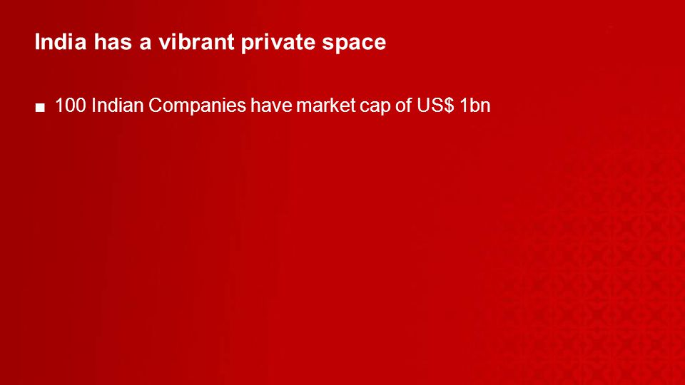 India has a vibrant private space 100 Indian Companies have market cap of US$ 1bn