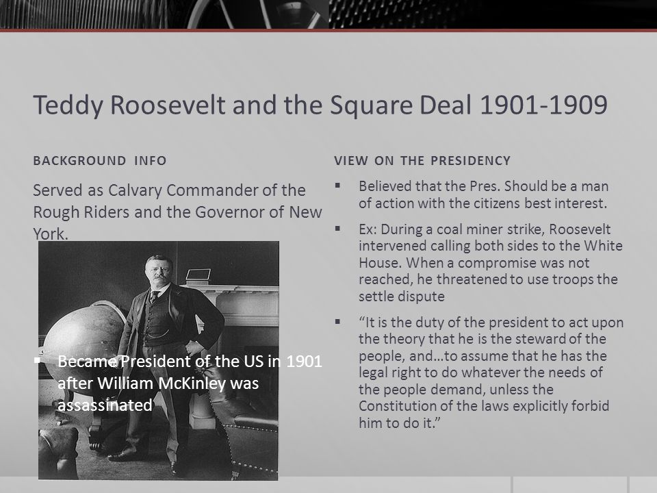 Roosevelt as Trust-Buster Roosevelt was against big business and monopolies He opposed unfair, anti-competitive practices and business consolidation known as trusts He broke up Rockefellers Standard Oil Company He also filed 44 law suites against other companies (monopolies) winning numerous cases and breaking other companies such as the Northwestern Railroad Co.