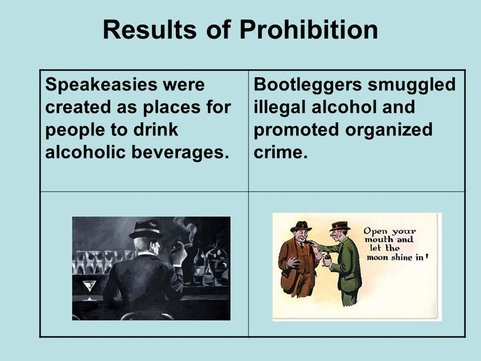 Results of Prohibition Speakeasies were created as places for people to drink alcoholic beverages. Bootleggers smuggled illegal alcohol and promoted o