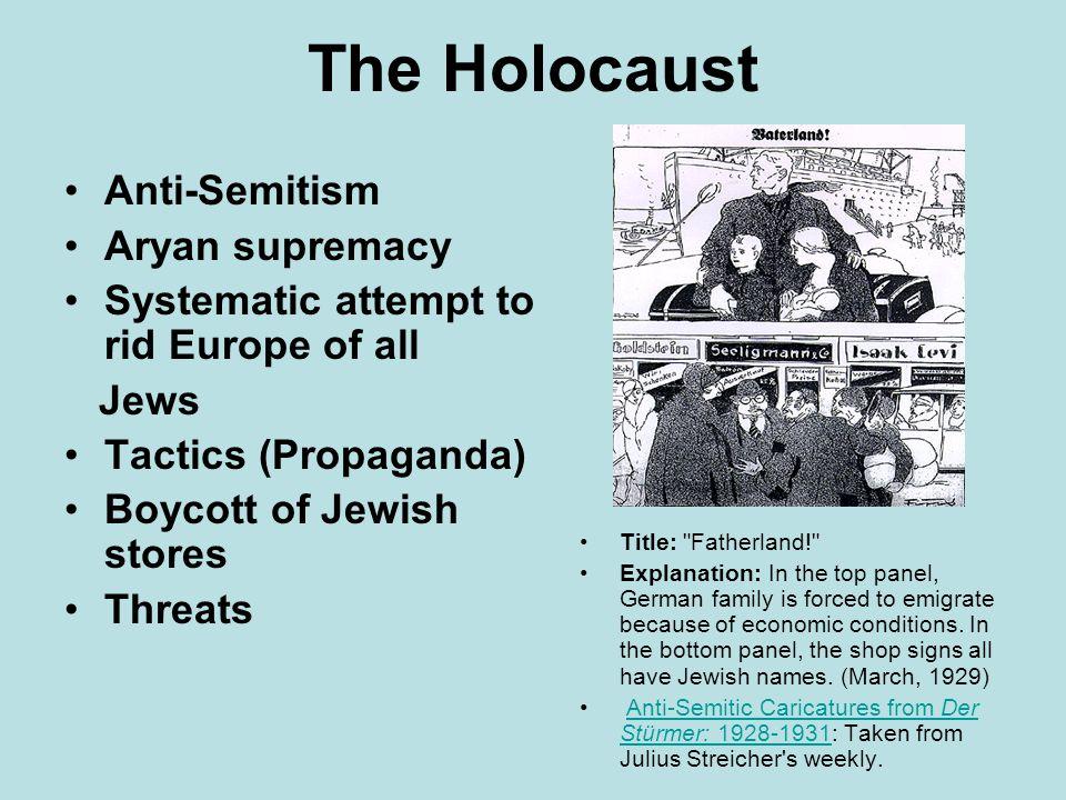The Holocaust Anti-Semitism Aryan supremacy Systematic attempt to rid Europe of all Jews Tactics (Propaganda) Boycott of Jewish stores Threats Title: