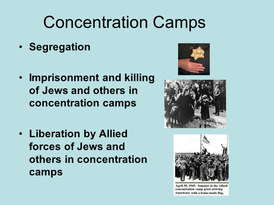 Concentration Camps Segregation Imprisonment and killing of Jews and others in concentration camps Liberation by Allied forces of Jews and others in c