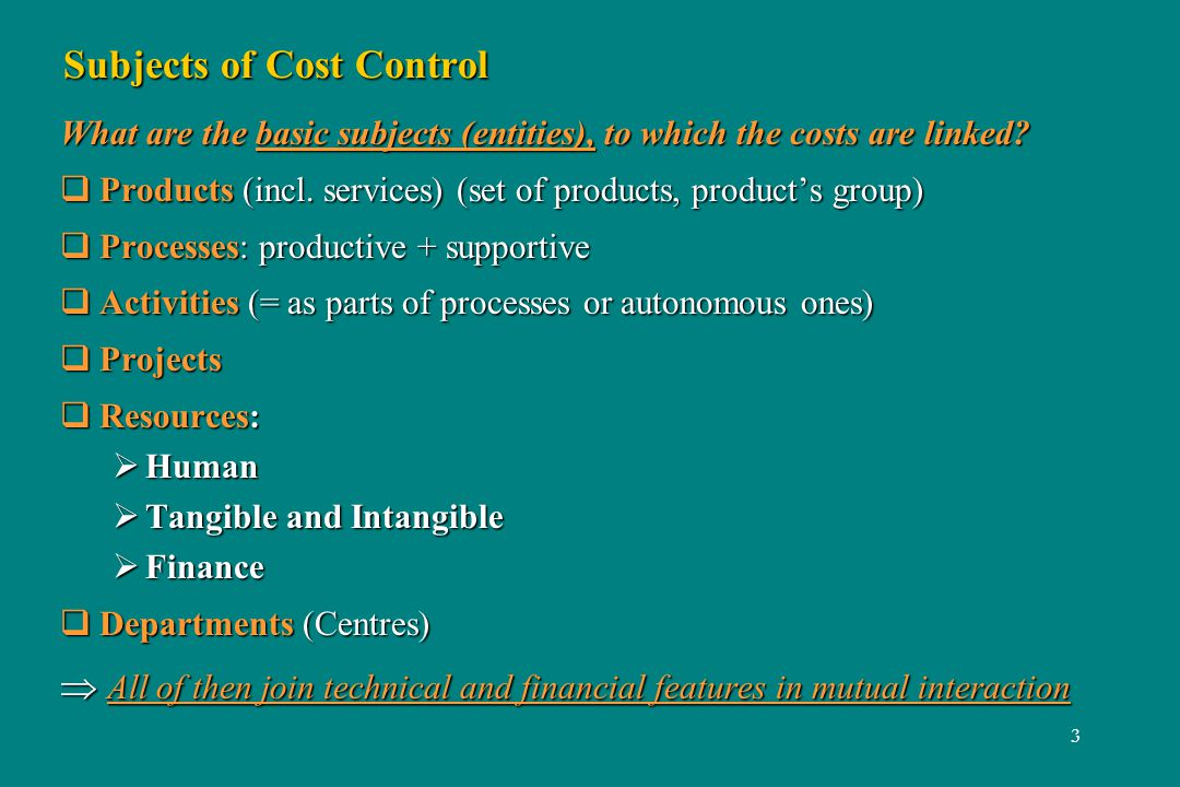 3 Subjects of Cost Control What are the basic subjects (entities), to which the costs are linked? Products (incl. services) (set of products, products