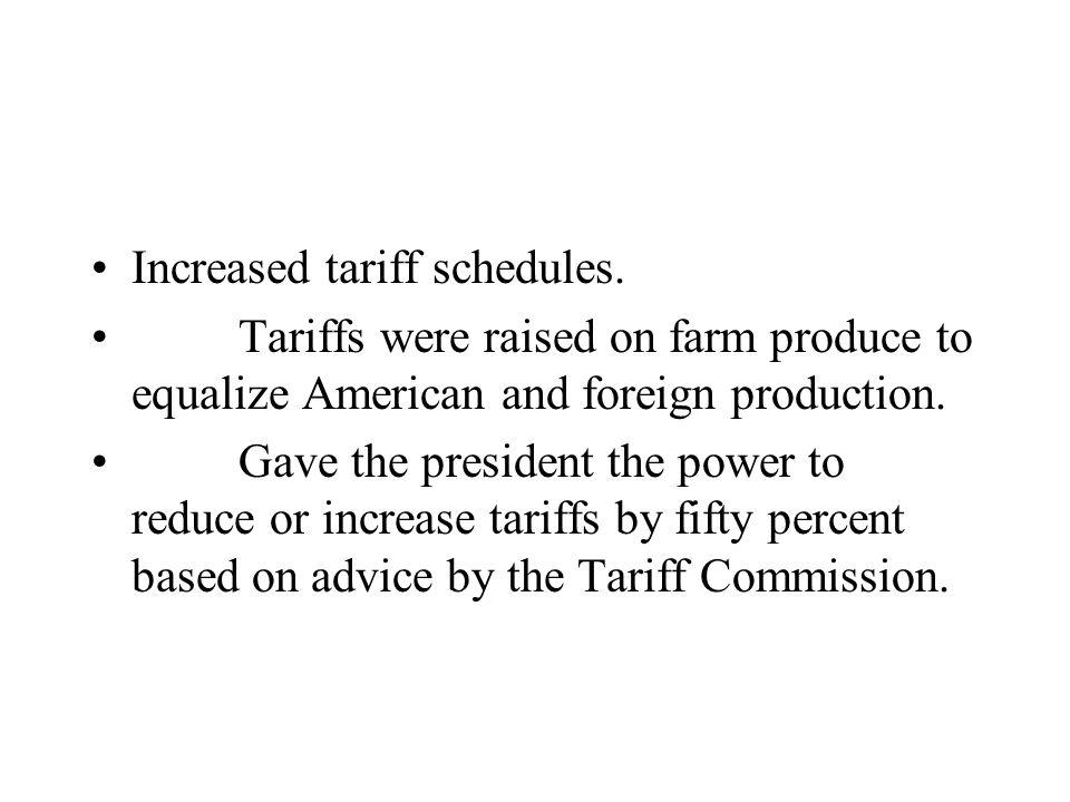 Increased tariff schedules. Tariffs were raised on farm produce to equalize American and foreign production. Gave the president the power to reduce or