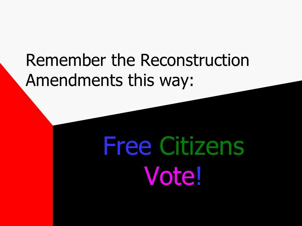 Reconstruction Amendments 13 th – abolished slavery 14 th - Everyone born in U.S.