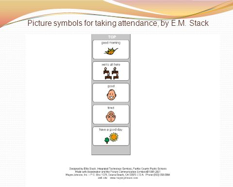 Picture symbols for taking attendance, by E.M. Stack