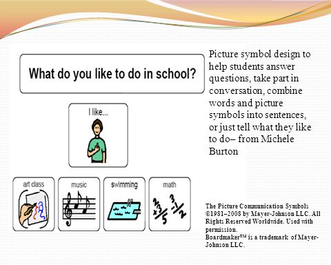 Picture symbol design to help students answer questions, take part in conversation, combine words and picture symbols into sentences, or just tell wha
