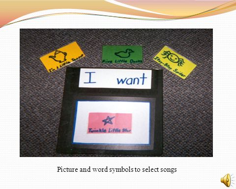 Picture and word symbols to select songs