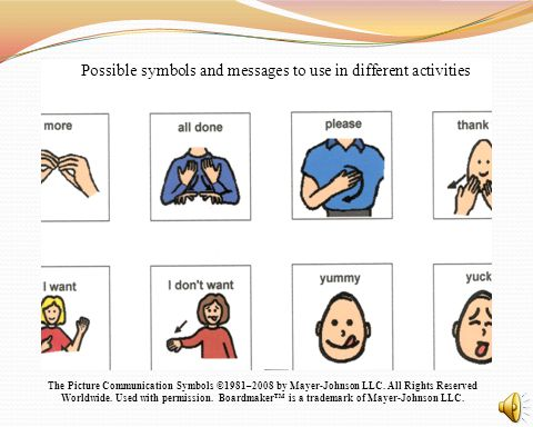 Possible symbols and messages to use in different activities The Picture Communication Symbols ©1981–2008 by Mayer-Johnson LLC. All Rights Reserved Wo