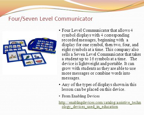 Four Level Communicator that allows 4 symbol displays with 4 corresponding recorded messages, beginning with a display for one symbol, then two, four,