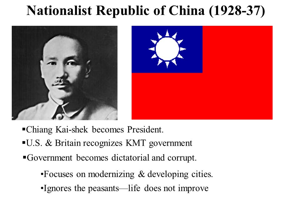 Nationalist Republic of China (1928-37) Chiang Kai-shek becomes President. U.S. & Britain recognizes KMT government Government becomes dictatorial and