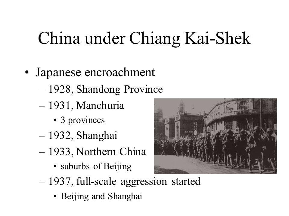 China under Chiang Kai-Shek Japanese encroachment –1928, Shandong Province –1931, Manchuria 3 provinces –1932, Shanghai –1933, Northern China suburbs