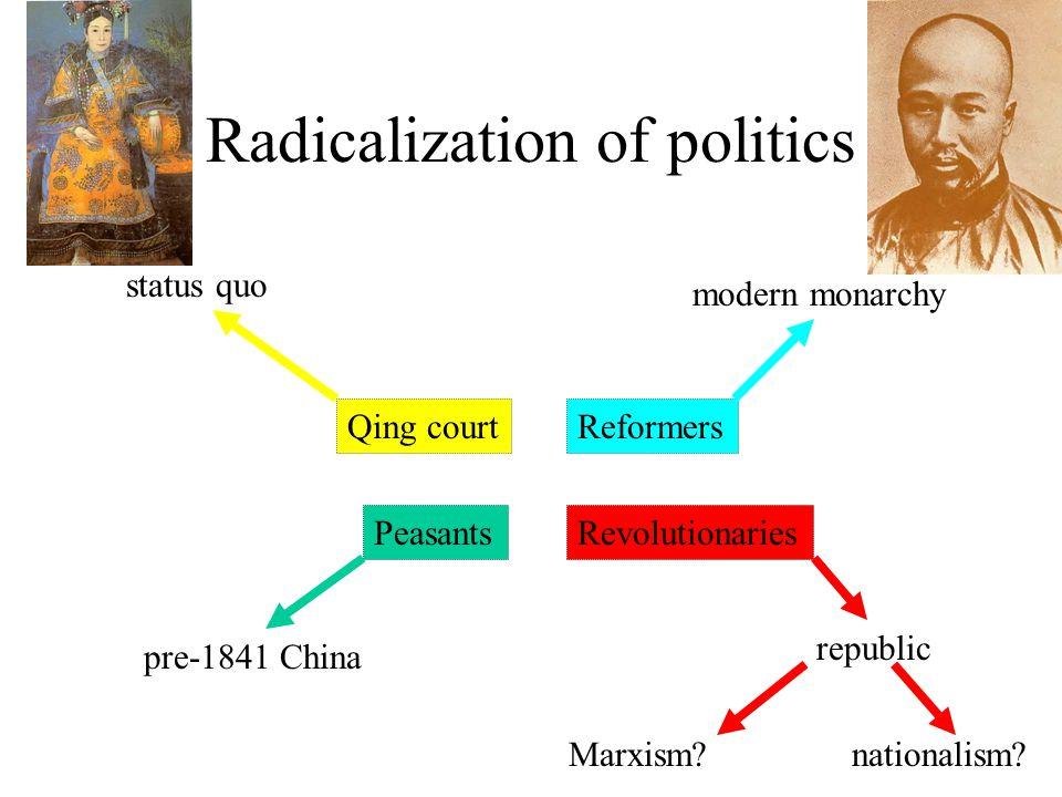 Radicalization of politics Qing courtReformers PeasantsRevolutionaries status quo pre-1841 China modern monarchy republic Marxism?nationalism?