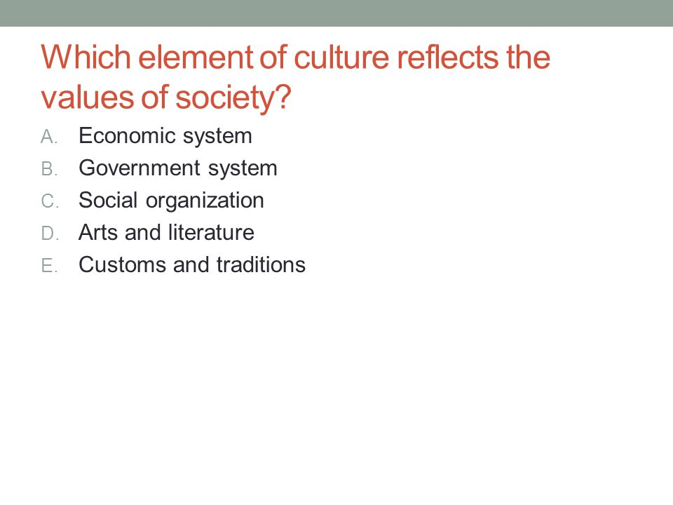 Which element of culture reflects the values of society? A. Economic system B. Government system C. Social organization D. Arts and literature E. Cust