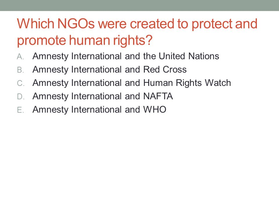 Which NGOs were created to protect and promote human rights? A. Amnesty International and the United Nations B. Amnesty International and Red Cross C.