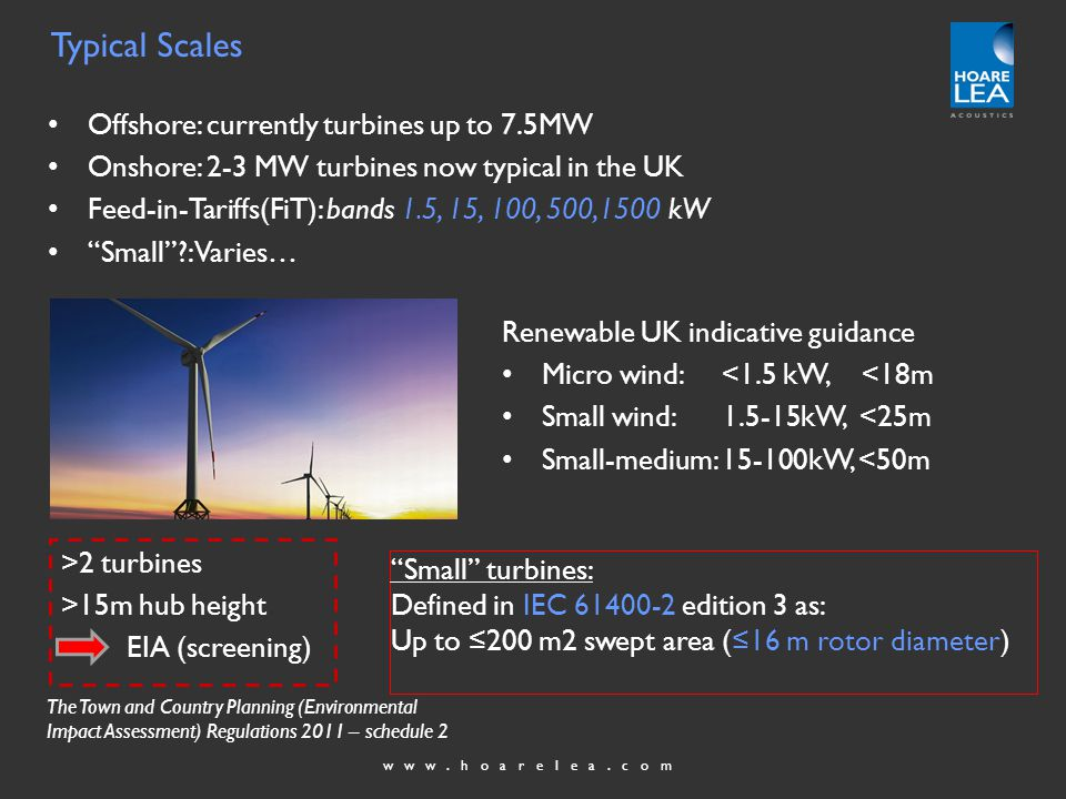 www.hoarelea.com Offshore: currently turbines up to 7.5MW Onshore: 2-3 MW turbines now typical in the UK Feed-in-Tariffs(FiT): bands 1.5, 15, 100, 500,1500 kW Small : Varies… Renewable UK indicative guidance Micro wind: <1.5 kW, <18m Small wind: 1.5-15kW, <25m Small-medium: 15-100kW, <50m >2 turbines >15m hub height EIA (screening) Typical Scales Small turbines: Defined in IEC 61400-2 edition 3 as: Up to 200 m2 swept area (16 m rotor diameter) The Town and Country Planning (Environmental Impact Assessment) Regulations 2011 – schedule 2