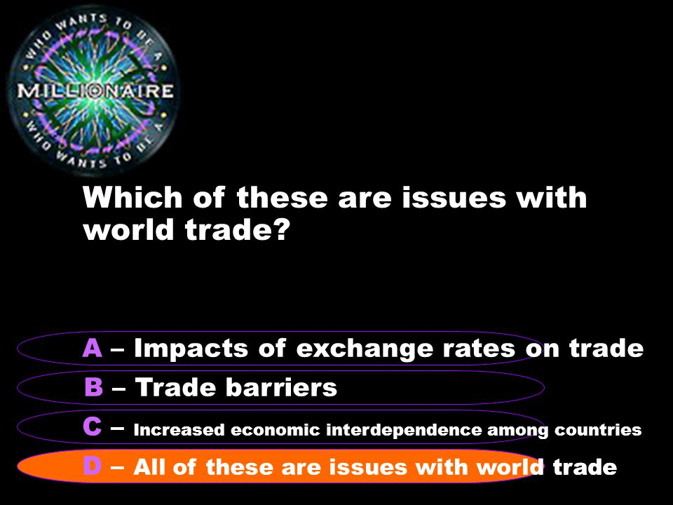Which of these are issues with world trade.