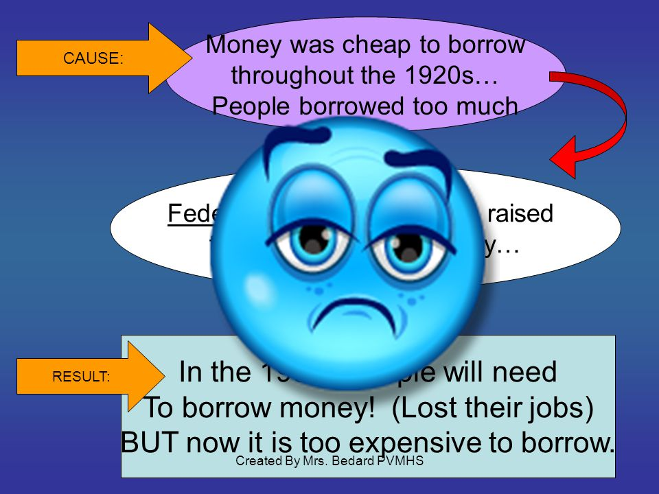Money was cheap to borrow throughout the 1920s… People borrowed too much Federal Reserve Bank then raised the cost to borrow money… CAUSE: In the 1930s people will need To borrow money.