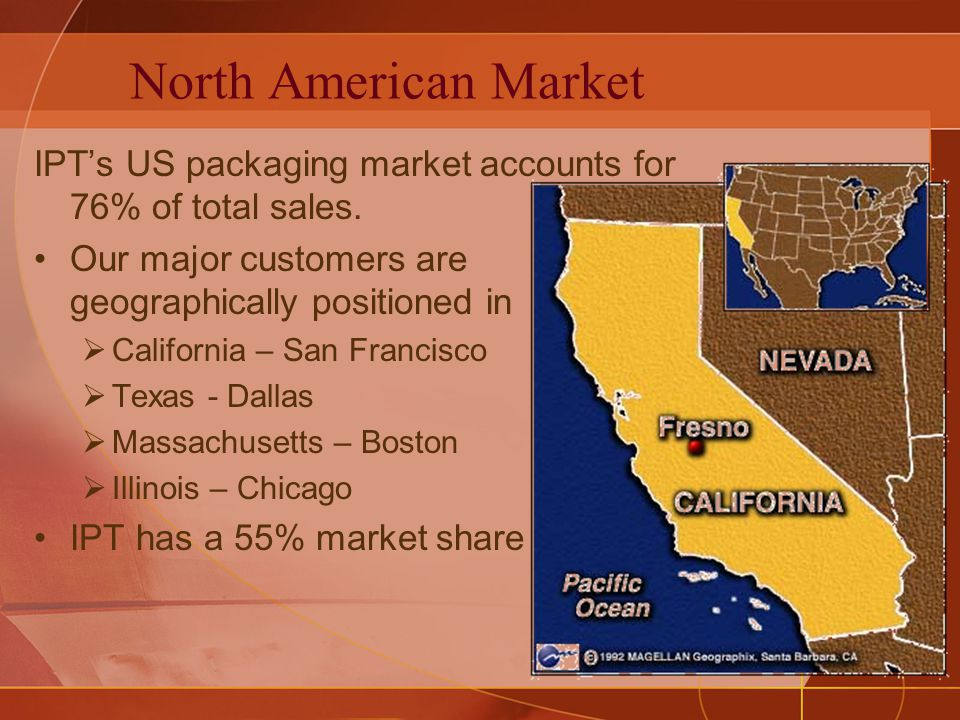 North American Market IPTs US packaging market accounts for 76% of total sales. Our major customers are geographically positioned in California – San