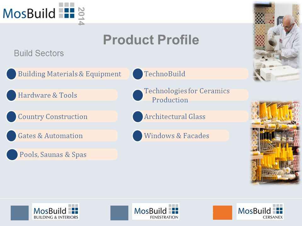 2014 Building Materials & Equipment Hardware & Tools Country Construction Product Profile Build Sectors TechnoBuild Technologies for Ceramics Production Gates & Automation Architectural Glass Pools, Saunas & Spas Windows & Facades