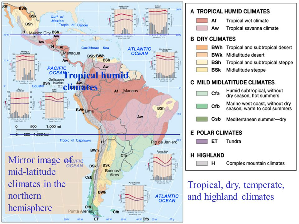 Tropical, dry, temperate, and highland climates Tropical humid climates Mirror image of mid-latitude climates in the northern hemisphere