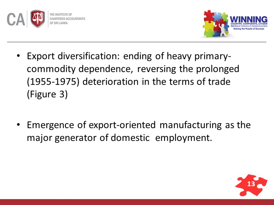 13 Export diversification: ending of heavy primary- commodity dependence, reversing the prolonged (1955-1975) deterioration in the terms of trade (Figure 3) Emergence of export-oriented manufacturing as the major generator of domestic employment.