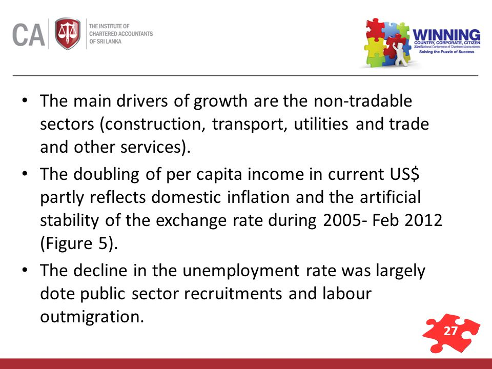 27 The main drivers of growth are the non-tradable sectors (construction, transport, utilities and trade and other services).