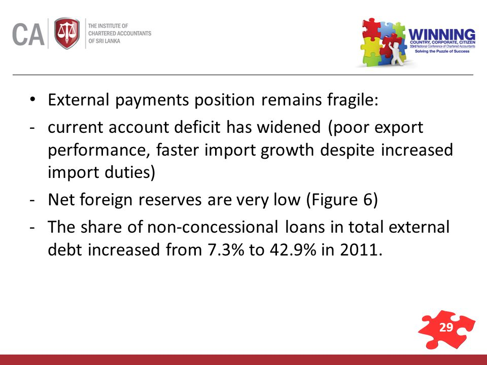 29 External payments position remains fragile: -current account deficit has widened (poor export performance, faster import growth despite increased import duties) -Net foreign reserves are very low (Figure 6) -The share of non-concessional loans in total external debt increased from 7.3% to 42.9% in 2011.