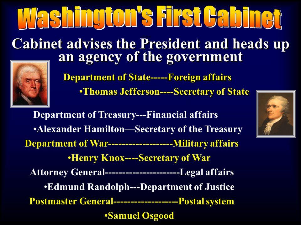 notes1 1.Washingtons Presidency Served 2 terms---1789 to 1797 VP: John Adams 2.
