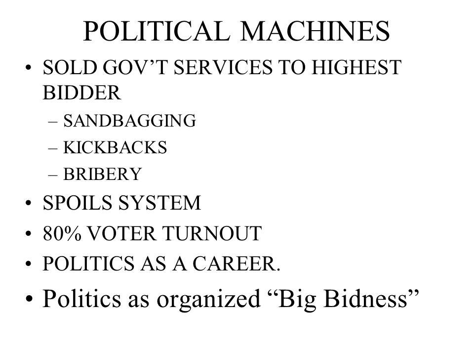 POLITICAL MACHINES SOLD GOVT SERVICES TO HIGHEST BIDDER –SANDBAGGING –KICKBACKS –BRIBERY SPOILS SYSTEM 80% VOTER TURNOUT POLITICS AS A CAREER. Politic