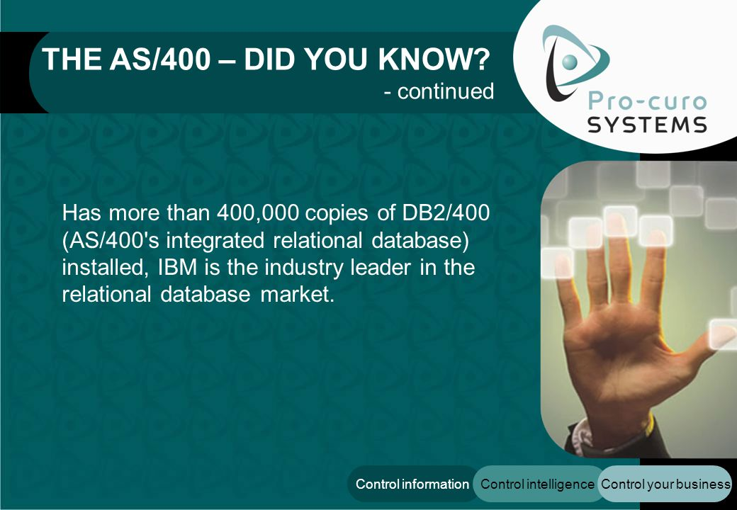Control your businessControl intelligenceControl information Has more than 400,000 copies of DB2/400 (AS/400 s integrated relational database) installed, IBM is the industry leader in the relational database market.