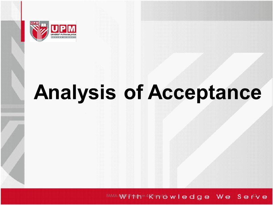 Analysis of Acceptance FAMA-UPM Program 4: Project 212