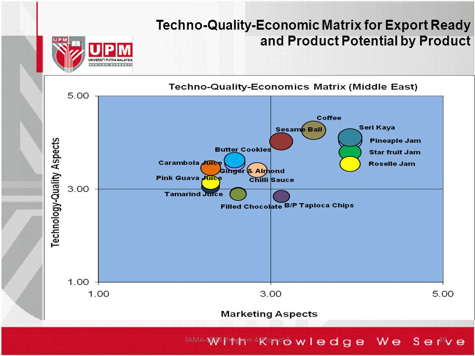 FAMA-UPM Program 4: Project 239 Techno-Quality-Economic Matrix for Export Ready and Product Potential by Product