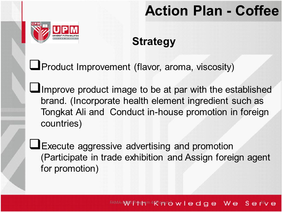 Strategy Product Improvement (flavor, aroma, viscosity) Improve product image to be at par with the established brand. (Incorporate health element ing