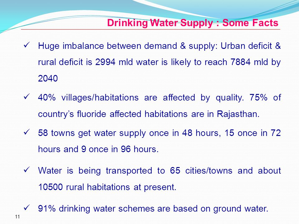 11 Drinking Water Supply : Some Facts Huge imbalance between demand & supply: Urban deficit & rural deficit is 2994 mld water is likely to reach 7884 mld by 2040 40% villages/habitations are affected by quality.
