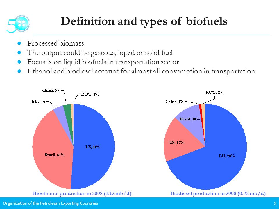 Organization of the Petroleum Exporting Countries 3 Definition and types of biofuels Processed biomass The output could be gaseous, liquid or solid fuel Focus is on liquid biofuels in transportation sector Ethanol and biodiesel account for almost all consumption in transportation Bioethanol production in 2008 (1.12 mb/d)Biodiesel production in 2008 (0.22 mb/d)