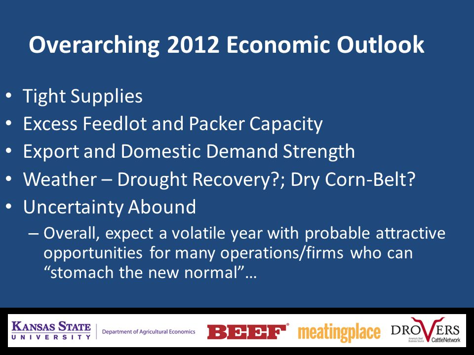 Overarching 2012 Economic Outlook Tight Supplies Excess Feedlot and Packer Capacity Export and Domestic Demand Strength Weather – Drought Recovery ; Dry Corn-Belt.