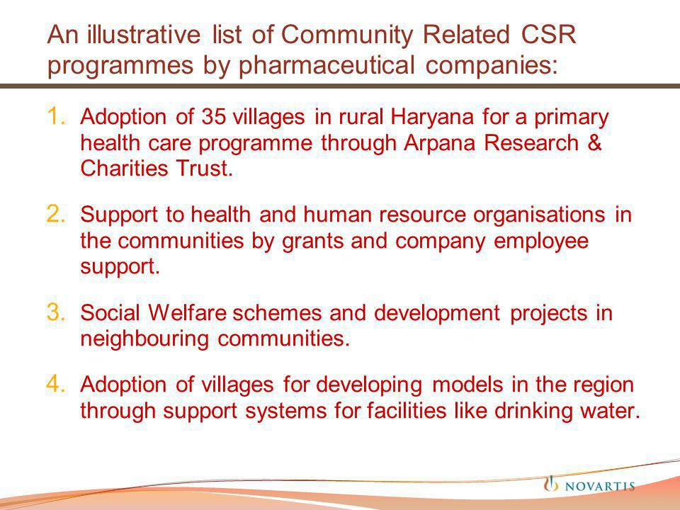 An illustrative list of Community Related CSR programmes by pharmaceutical companies: 1.
