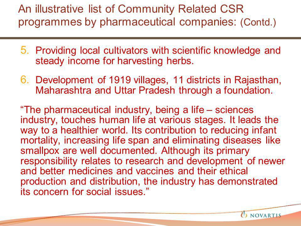 An illustrative list of Community Related CSR programmes by pharmaceutical companies: (Contd.) 5.