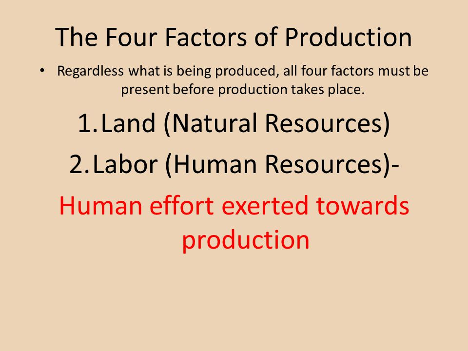 The Four Factors of Production Regardless what is being produced, all four factors must be present before production takes place. 1.Land (Natural Reso