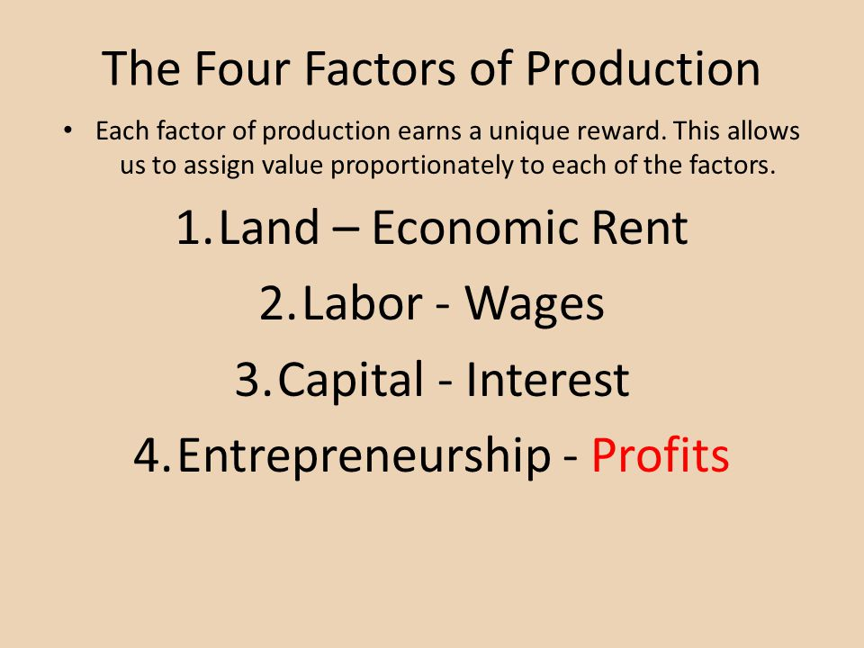 The Four Factors of Production Each factor of production earns a unique reward. This allows us to assign value proportionately to each of the factors.