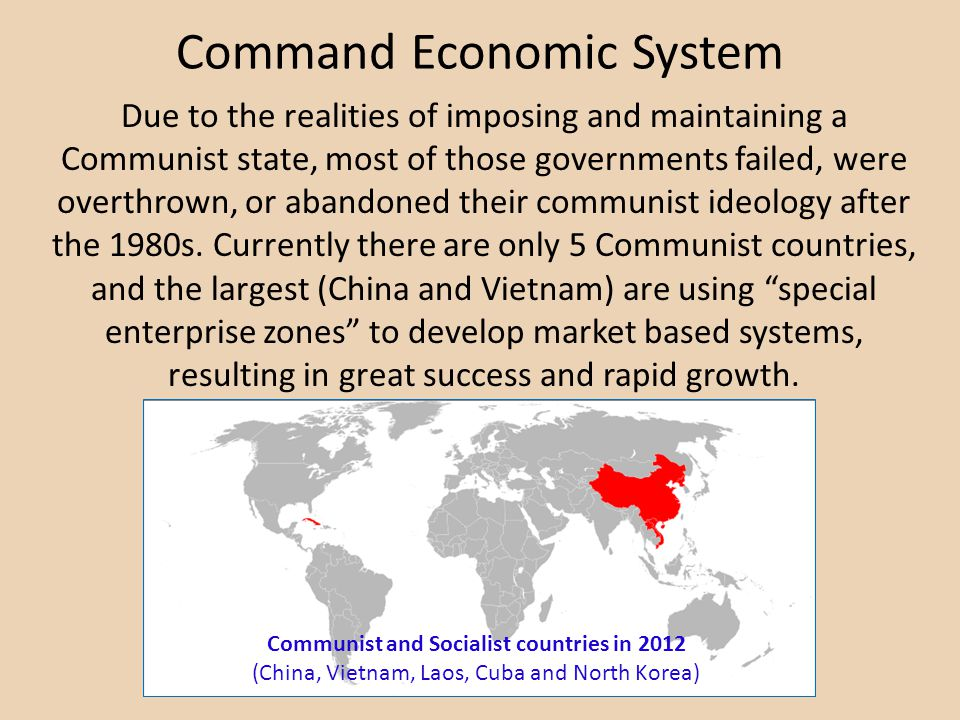 Command Economic System Communist and Socialist countries in 2012 (China, Vietnam, Laos, Cuba and North Korea) Due to the realities of imposing and maintaining a Communist state, most of those governments failed, were overthrown, or abandoned their communist ideology after the 1980s.