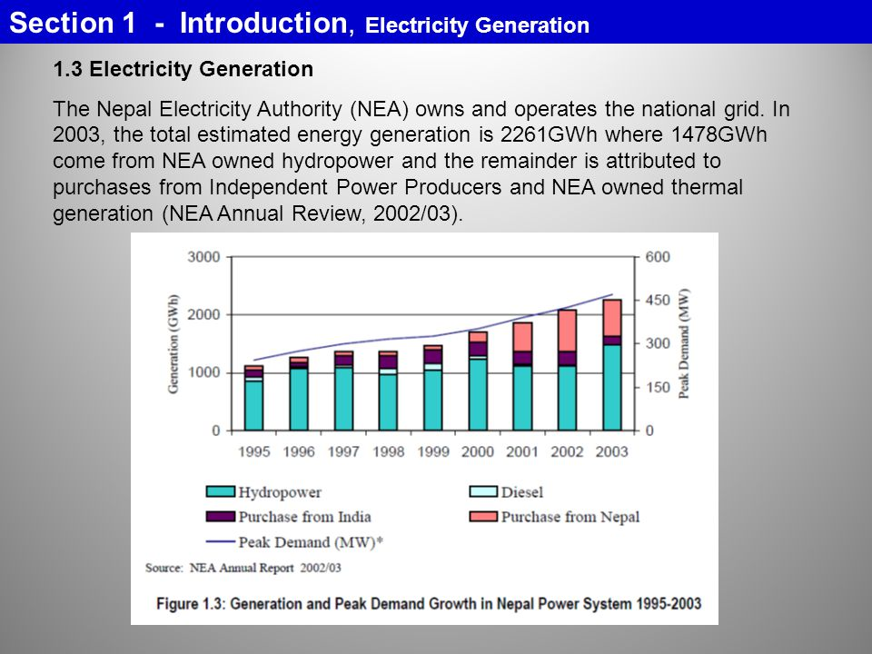 Section 1 - Introduction, Electricity Generation 1.3 Electricity Generation The Nepal Electricity Authority (NEA) owns and operates the national grid.