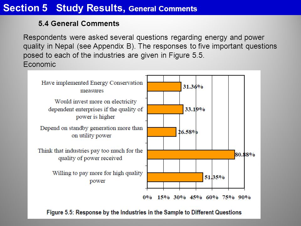 5.4 General Comments Respondents were asked several questions regarding energy and power quality in Nepal (see Appendix B).