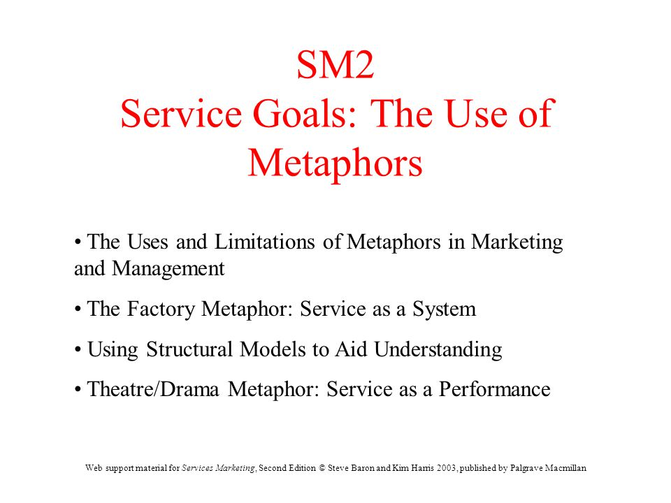 Web support material for Services Marketing, Second Edition © Steve Baron and Kim Harris 2003, published by Palgrave Macmillan SM2 Service Goals: The