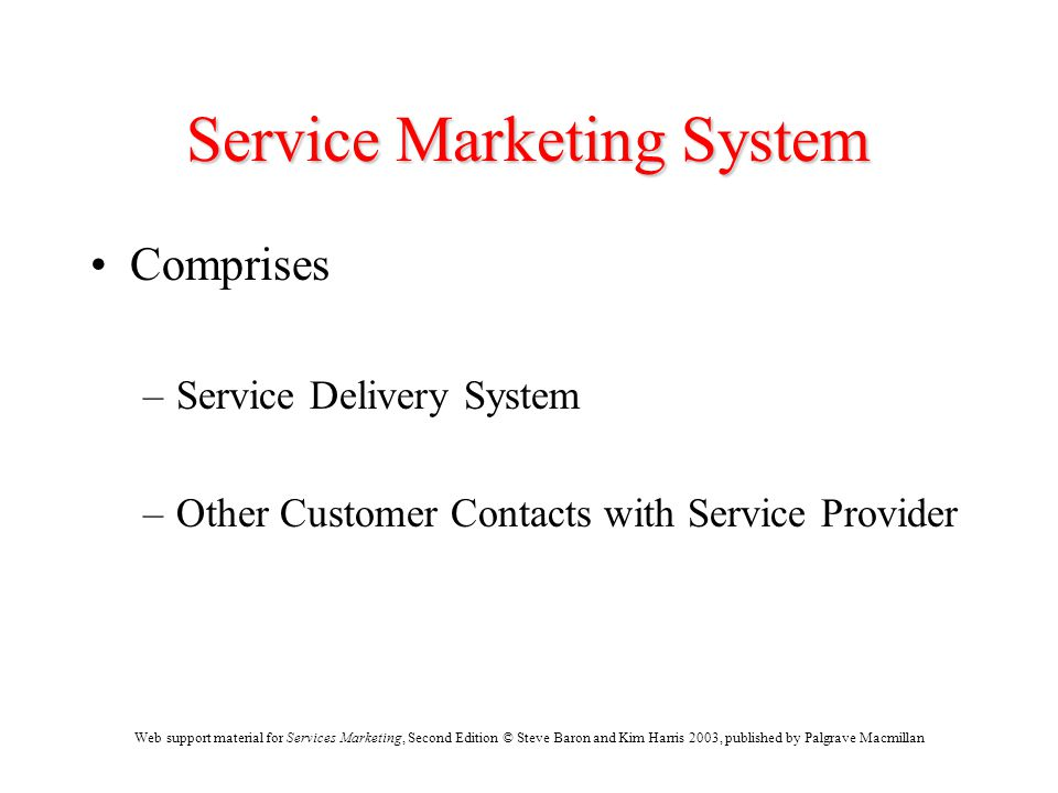 Web support material for Services Marketing, Second Edition © Steve Baron and Kim Harris 2003, published by Palgrave Macmillan Service Marketing Syste