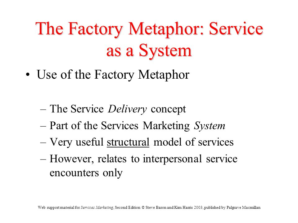 Web support material for Services Marketing, Second Edition © Steve Baron and Kim Harris 2003, published by Palgrave Macmillan The Factory Metaphor: S