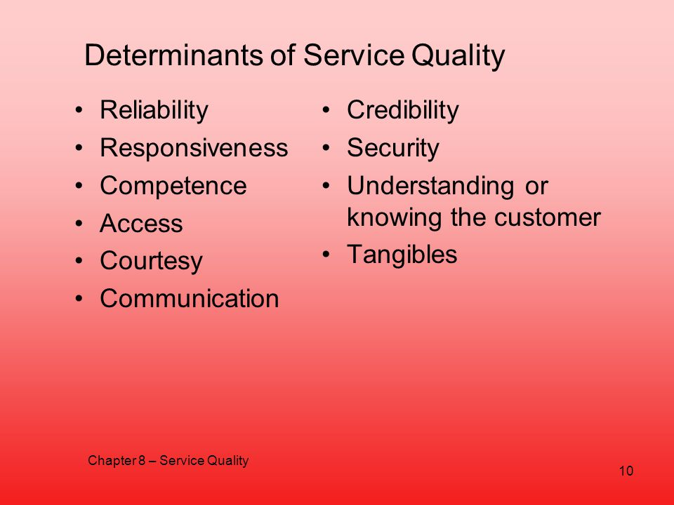 Determinants of Service Quality Reliability Responsiveness Competence Access Courtesy Communication Credibility Security Understanding or knowing the