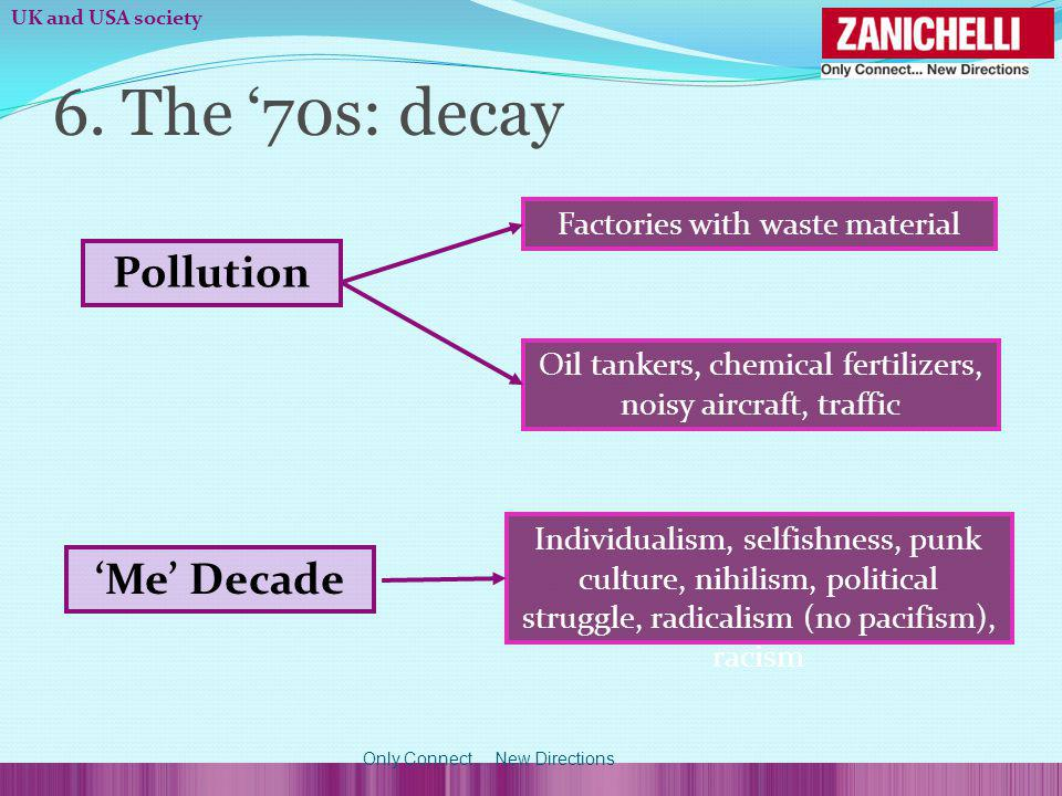 6. The 70s: decay Factories with waste material Pollution Oil tankers, chemical fertilizers, noisy aircraft, traffic Me Decade Individualism, selfishn