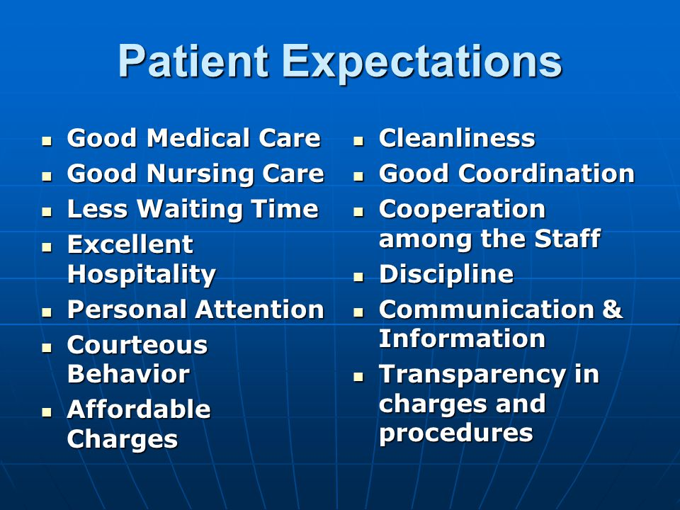 Patient Expectations Good Medical Care Good Medical Care Good Nursing Care Good Nursing Care Less Waiting Time Less Waiting Time Excellent Hospitality Excellent Hospitality Personal Attention Personal Attention Courteous Behavior Courteous Behavior Affordable Charges Affordable Charges Cleanliness Cleanliness Good Coordination Good Coordination Cooperation among the Staff Cooperation among the Staff Discipline Discipline Communication & Information Communication & Information Transparency in charges and procedures Transparency in charges and procedures